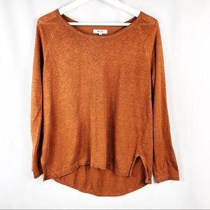 MADEWELL RUST COLORED LONG SLEEVE LINEN TOP